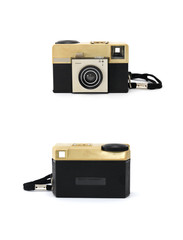 grungy retro camera front & back on  isolated white background