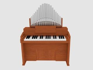 wooden organ isolated instrument render