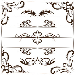 Vector set of bookplates and corners for design