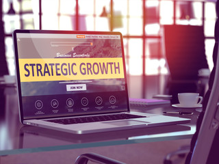 Strategic Growth Concept - Closeup on Laptop Screen in Modern Office Workplace. Toned Image with Selective Focus. 3D Render.