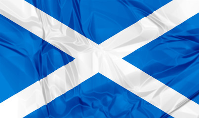 Waving flag of Scotland, blue white colors. 3d background.