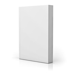 Blank paperback book cover isolated over white background with reflection