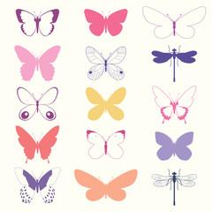 Butterflies Set - vector illustration eps10