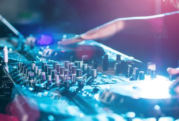 DJ sound equipment at nightclubs.