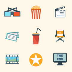 Movie Icons Set - flat design colorful icons vector eps10