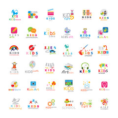 Children Icons Set-Isolated On White Background.Vector Illustration,Graphic Design.Kids Globe,Puzzle,Bunny