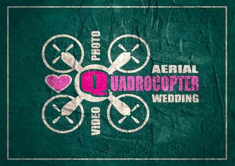 Drone quadrocopter icon. Quadrocopter aerial wedding text