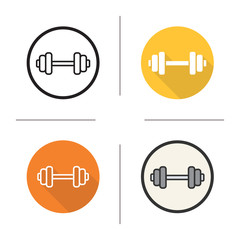 Gym dumbbell flat design, linear and color icons set