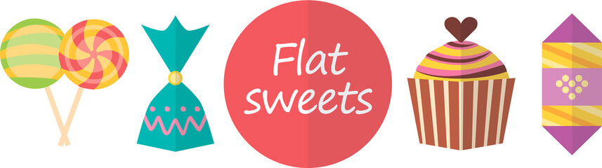 Flat images. Candy and other sweets