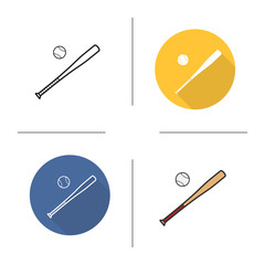 Baseball bat and ball flat design, linear and color icons set
