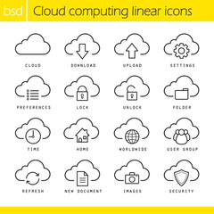 Cloud computing linear icons set