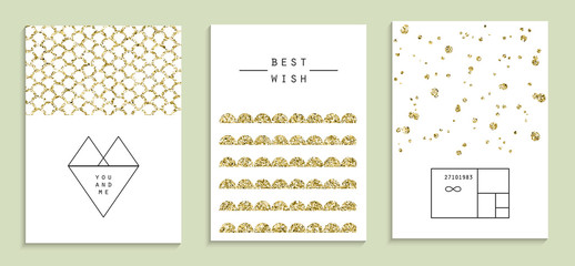 Set of trendy invitations with gold glitter texture.