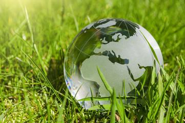 Weltkugel aus Glas, Erde mit Gras und Sonne, Naturschutz, Umweltschutz, Klimaschutz Wall mural