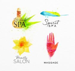 Beauty natural spa symbols herbal