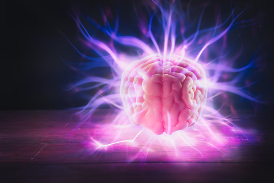 Brain power concept with abstract light rays