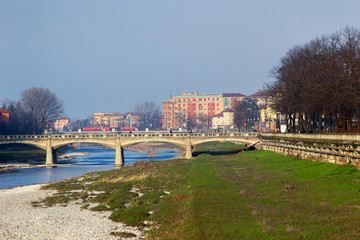 View on Verdi bridge over Parma river, Parma, Italy