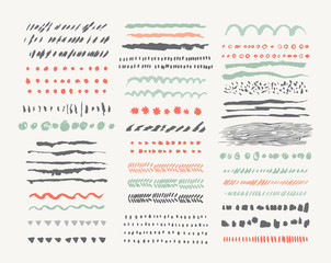 Hand drawn vector line borders and dividers collection.