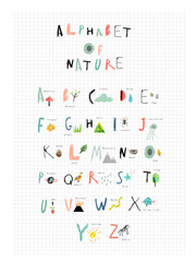 Cute alphabet of Nature. Letters, natural events, flora and fauna