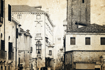 Venice architecture. Old photo effect applied.