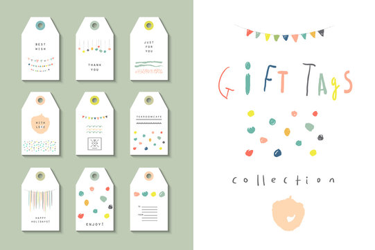 Collection of party hand tags. Cute hand drawn set
