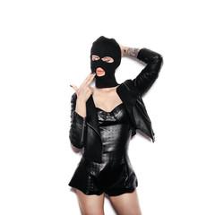 sexy girl in balaclava - crime and violence - fototapety na wymiar