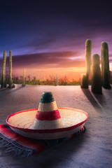 """high contrast image of Mexican hat """"sombrero"""" on a """"serape"""" in a"""