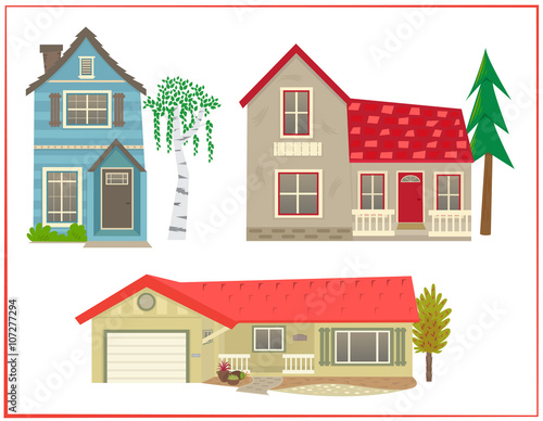 Cute houses Cartoon set of three different types of homes Eps10