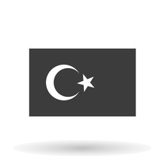 Turkish flag icon on a black background, stylish vector illustration