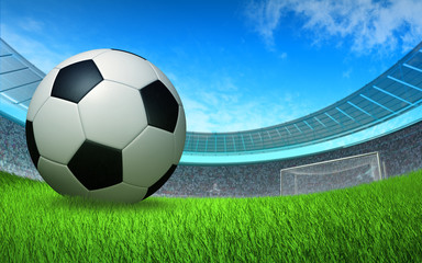 soccer ball close up in front of the gate at the stadium, sports soccer background, backdrop, wallpaper