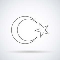Turkish flag silhouette icon element on a white background, vector illustration stylish