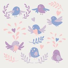 Cute birds vector card set pastel color. Color trend 2016