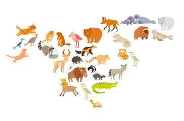 Animals world map, North America. Colorful cartoon vector illustration for children and kids. Preschool, education, baby, continents, oceans, drawn, Earth