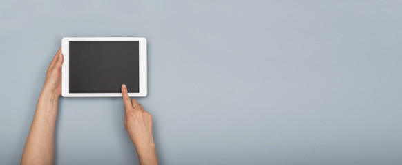 Top view tablet hero header