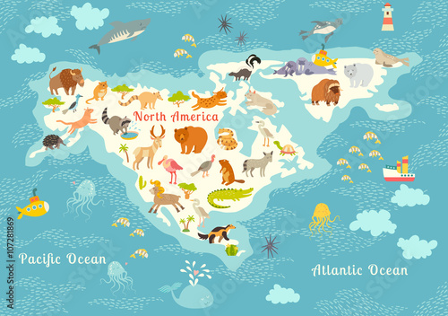 Animals world map north america colorful cartoon vector animals world map north america colorful cartoon vector illustration for children and kids gumiabroncs Images