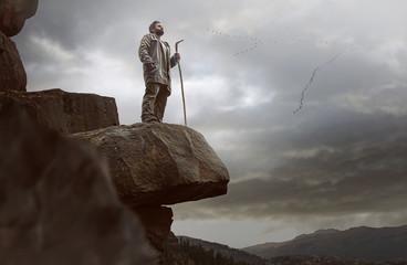 Lonesome Wanderer on a Rock