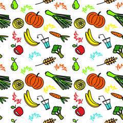 Seamless pattern with bright healthy food objects