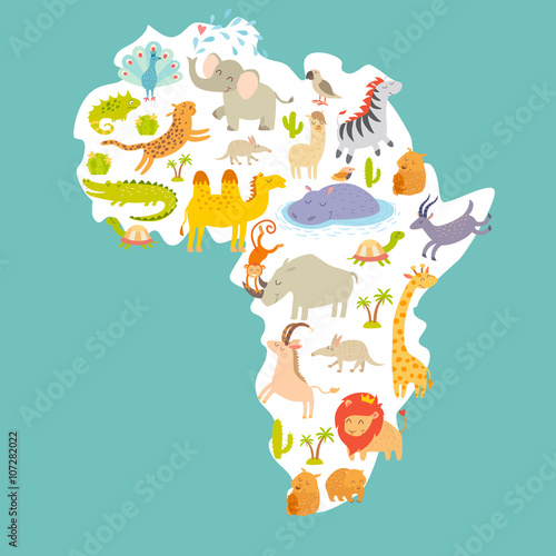Animals World Map Africa Colorful Cartoon Vector Illustration For Children And Kids Preschool