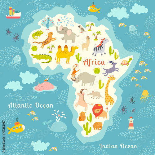 Animals World Map Africa Beautiful Cheerful Colorful Vector - Continents of the world for kids