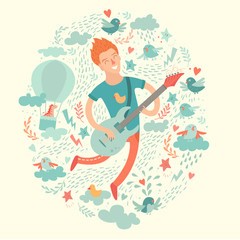 Guitarist, cartoon hipster playing guitar on a colorful background. Isolated vector illustration