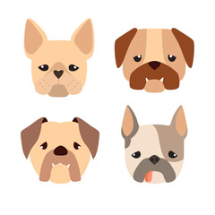 Cartoon bulldog. Cute dogs vector set of icons, illustration isolated on white background