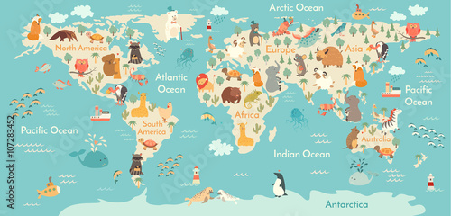 Animals World Map Vector Illustration Preschool Baby Continents