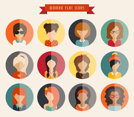 Circle of flat icons. Woman, vector illustration, web userpic, ribbon