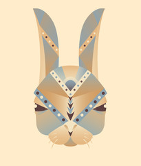 The abstract head of rabbit geometry vector illustration, purple and orange colors on ivory background, icon, print, card