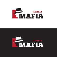 Vector minimalistic negative space man in hat logo. Mafia bar logo - fototapety na wymiar