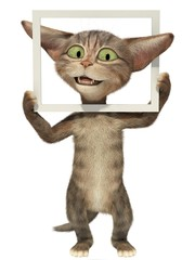 Fluffy kitten posing with picture frame. 3d illustration. Isolated white background.