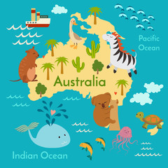 Fototapete - Animals world map, Australia. Vector illustration, preschool, baby, continents, oceans, drawn, Earth.