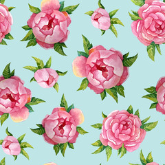 Peonies watercolor pattern. Illustration