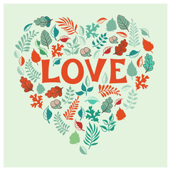 Vintage Leafers Heart, Vector Illustration.