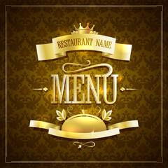 Vintage style restaurant menu design with golden ribbons against brown backdrop