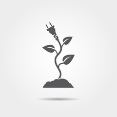 Eco electric plug with leaves icon
